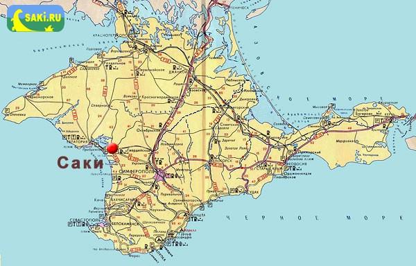Детальная карта города Саки с