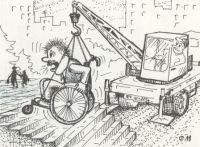 Почти все учреждения в Саках недоступны для инвалидов на коляске