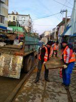 Ремонт участка тротуара на улице Кузнецова