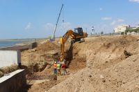 Ход строительства набережной вдоль Солёнки