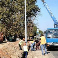 Идет ремонт освещения на Михайловском шоссе